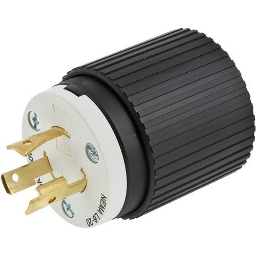 hubbell l620p - 20 amp 250v nema l6-20 single phase twist lock plug